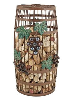 """Barrel Cork Holder for $42.00. Find it and more at WineRacks.com    This wine barrel cork holder will liven up the decor in any space. Never lose a cork again! This decorative and functional piece can hold around 275 standard corks.         Made from wrought iron with glass grape accents      Dim: 13""""H x 6""""W"""