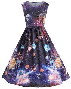 079d5941cbff0 Nicetage Womens Starry Night Sky Moon Stars Space Constellations Planets  Vintage Halloween Dress HS54 Starry Sky M