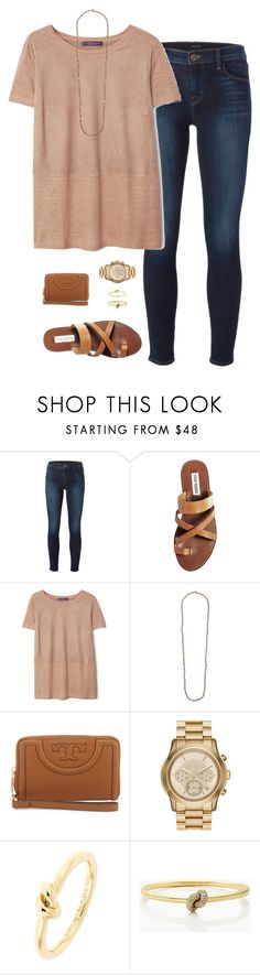 """""""camel&&gold"""" by tessorastefan ❤ liked on Polyvore featuring J Brand, Steve Madden, MANGO, Chan Luu, Tory Burch, MICHAEL Michael Kors and Kate Spade"""