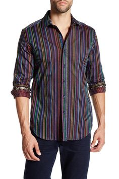 Image of Robert Graham Emeilio Striped & Embroidered Long Sleeve Tailored Fit Shirt