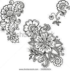 Henna tattoo flower template.Mehndi.