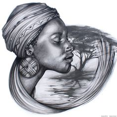 Mother Africa by Benjamin Art African Drawings, African Art Paintings, Afrika Tattoos, Native Tattoos, African Princess, Black Art Painting, Graffiti, Black Love Art, Tattoo Project