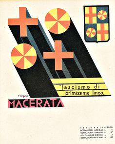 Fortunato Depero, Province Italiane, Macerata, 1938 Vintage Graphic Design, Graphic Design Layouts, Retro Advertising, Vintage Advertisements, Cd Project, Futurism Art, Art Deco Illustration, Old Ads, Brand Packaging