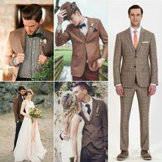 Brown men's wedding attire, neutral colored wedding