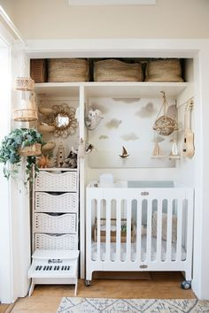 A hall closet, which used to store clothing for the couple, is now a tiny nursery for their son. baby clothes and necessities like diapers are stored in the Baby Nursery Diy, Baby Room Diy, Baby Bedroom, Baby Boy Rooms, Baby Room Decor, Baby Cribs, Nursery Room, Small Baby Rooms, Cottage Nursery