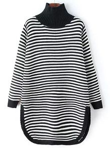 Black White High Neck Striped Loose Sweater -SheIn(Sheinside)