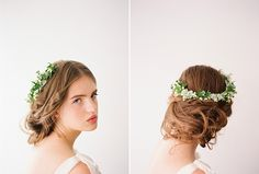 Lily-of-the-valley, miniature ivy and white licorice plant twisted into an open-front head wreath. Photo: Corbin Gurkin Via Snippet & Ink