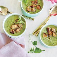 Minty Pea Soup with Parmesan Croutons | MyRecipes.com