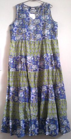 Boho Chic Anokhi Periwinkle & Citrus Floral block print Tiered Maxi Dress