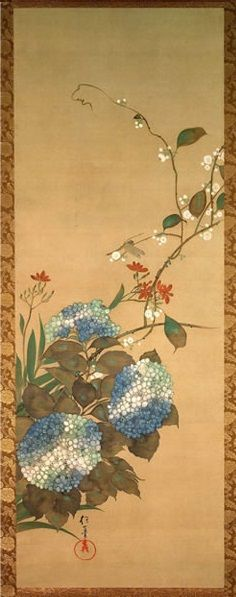 Flowers and Birds of the Twelve Months (Jûnikagetsu Kachô zu, 十二か月花鳥図), by Sakai Hōitsu (酒井 抱一, 1761-1828)