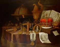 A vanitas still life with a globe, court jewels in a casket, a sword, a miniature portrait of King Charles I and other objects on a draped table by Edward Collier
