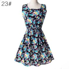 Detonation model European 2015 new In the summer sleeveless printing Chiffon dress Big flowers grow Vest dress | Souq Zila