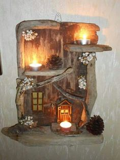 Driftwood Shelf, Driftwood Projects, Home Candles, Fairy Doors, Beach Crafts, Nature Crafts, Fairy Houses, Pebble Art, Crafts To Make