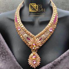 FUCHSIA 'n' ROSE GOLD Necklace/ Bead Embroidery/ Swarovski Crystal Neckpiece/ Statement Necklace