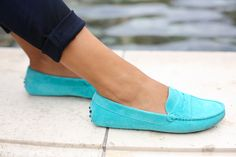 Turquoise Andy Tom loafers.