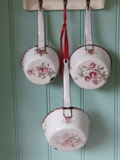 Set of three antique French saucepans with by FrenchVintageChique, $150.00