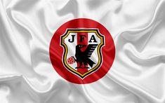 Download wallpapers Japan national football team, logo, emblem, flag of Japan, football federation, World Championship, football, silk texture
