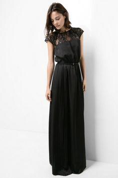 robe longue noire dentelle Mango
