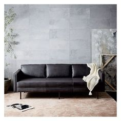 West Elm Axel 3 Seater Sofa, Parc Leather, Black (€1.825) ❤ liked on Polyvore featuring home, furniture, sofas, black, black sofa, black leather furniture, leather couch, black leather sofa and leather furniture