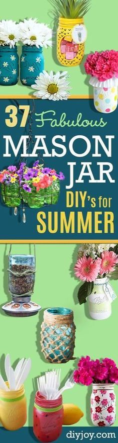 Mason Jar Ideas for Summer - Mason Jar Crafts, Decor and Gifts, Centerpieces and DIY Projects With Jars That Are Perfect For Summertime - Fun and Easy Lights, Cool Vases, Creative 4th of July Ideas