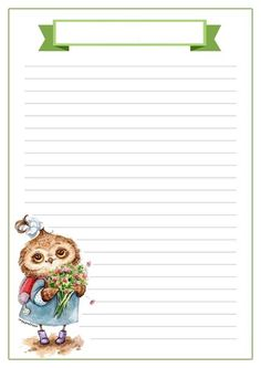 z Printable Lined Paper, Free Printable Stationery, Owl Writing, Writing Paper, Kids Notes, Magazine Collage, Paper Owls, Stationery Paper, Note Paper