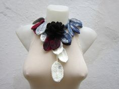Removeable Brooch Pin Hand crochet Lariat Scarf  Grey by nurlu, $20.00