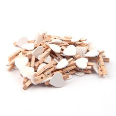Wooden Heart Clips Photos Polaroid Cards Clips Fixer Clamp Party Events Wood Pegs Birthday Wedding DIY Decoration 100Pcs/Lot