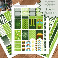 St Patric Day Planner Stickers Printable by PrintThemAllStudio