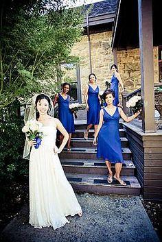 Bridesmaid dresses JCrew Sophia in Mediterranean blue