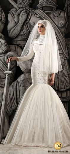 wedding dress with hijab in mermaid style