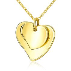 Link Chain Gold Solid Heart Shape Pendant Necklace