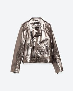 Image 11 of METALLIC LEATHER JACKET from Zara