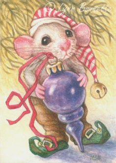 "Art by Lynn Bonnette: ""Mouse & Purple Ornament"""