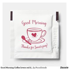 Good Morning Coffee lovers red doodle custom Hand Sanitizer Packet Party Gift Bags, Party Gifts, Coffee Lovers, Coffee Shop, Good Morning Coffee, Catering Companies, Breakfast On The Go, I Love Coffee, Best Self