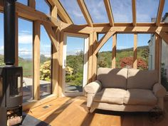 Timber frame extensions and timber frame kits Scotland, latest timber framed extension in Scotland from Carpenter Oak Ltd. Glass Conservatory, Conservatory Design, Oak Framed Extensions, House Extensions, Cottage Extension, Side Extension, Extension Ideas, Outdoor Rooms, Outdoor Living