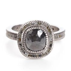 Todd Reed Raw Grey Diamond Ring with Cubic Diamond Accents