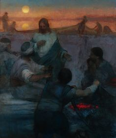 Christ and the Fishermen (Lovest Thou Me More Than These?) by J. Kirk Richards