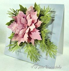 Tim Holtz Tattered Poinsetta die, glossy Accents, Glitter and ? Pine die. ( ? Is in directions)