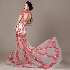 Chinese qipao inspired cherry blossom floral embroidered white and red trailing evening dresses modern Chinese bridal wedding gown 004 Asian Wedding Dress, Bridal Wedding Dresses, Red Chinese Dress, Chinese Dresses, Cheongsam Wedding, Evening Dresses For Weddings, Prom Dresses, Dress Alterations, Most Beautiful Dresses