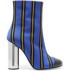 Marco De Vincenzo Patent leather-trimmed striped canvas ankle boots (1.890 NOK) ❤ liked on Polyvore featuring shoes, boots, ankle booties, black ankle boots, black booties, black high heel boots, short black boots and ankle boots