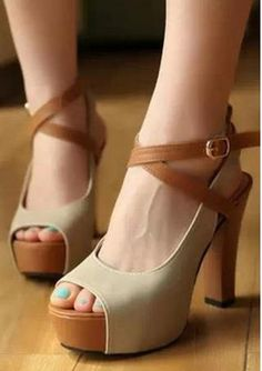Women's sexy peep toe contrast color high heels platforms
