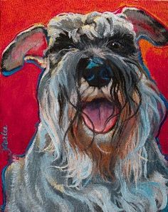 Beautiful portrait of my previous schnauzer Bentley.  The brilliant artist is at www.gooddogfineart.com