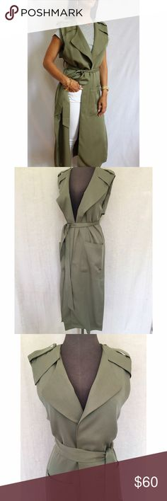 Trench Vest Olive Green sleeveless Trench Vest fits long and has a relaxed fit. Features large lapel and large from pockets. Perfect to layer with any fashion style! Make it your own. Lined. 100% Viscose. Wash Gentle Cycle. Sized S/M or M/L. Jackets & Coats Vests