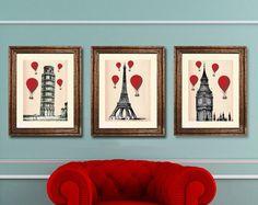 Red Hot Air Balloons 14x11: 3 Art Prints Paris London Pisa Illustration Drawing Poster Digital Print Wall Art Wall Décor Wall Hanging