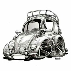 Cartoon Volkswagen Art Print Charcoal Drawing by Lemorris Cartoon Car Drawing, Car Drawings, Cartoon Art, Rat Fink, Vw Camping, Kdf Wagen, Vw Vintage, Car Illustration, Mustang