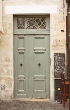 Paris Door Photography - Mint Green Doors in Paris France - Cafe Pause - Chalkboard Menu - Kitchen wall art - office art