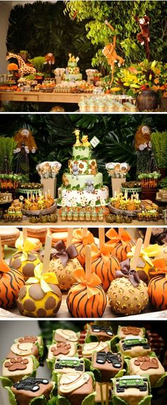 Festa Safari Floresta Arthur Eliana. Safari dinner party, animal print sweets