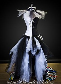 Size Medium Black and White striped satin and tulle by Glamtastik, $475.00
