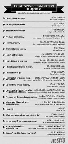 Infographic: how to express your determination in Japanese. http://japanesetest4you.com/infographic-express-determination-japanese/