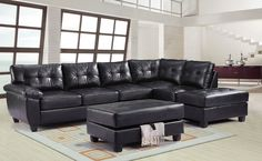 This+G903+Reversible+Sectional+Set+by+Glory+Furniture+is+sure+to+please+your+family+and+guests.+The+set+features+black+PU+upholstery,+comfortable+tufted+seating,+pillow+top+arms+and+removable+backs.